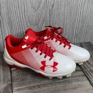 Under Armour Leadoff Red Baseball Cleats 3.5